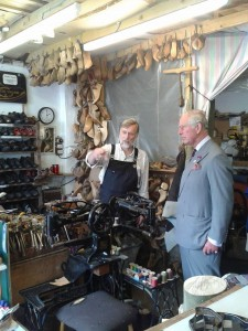 Trefor Owen & Prince Charles in the workshop